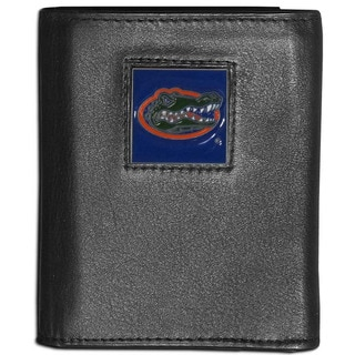 Collegiate Florida Gators Black Leather Tri-fold Wallet