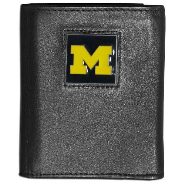Collegiate Michigan Wolverines Black Leather Tri-fold Wallet