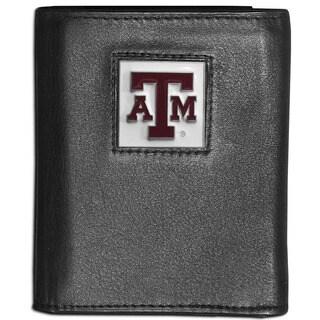 Collegiate Texas A M Aggies Black Leather Tri-fold Wallet