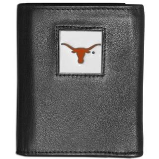 Collegiate Texas Longhorns Black Leather Tri-fold Wallet