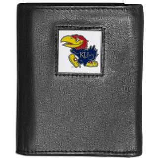 Collegiate Kansas Jayhawks Black Leather Tri-fold Wallet