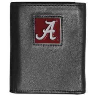Collegiate Alabama Crimson Tide Black Leather Tri-fold Wallet
