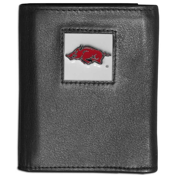 Collegiate Arkansas Razorbacks Black Leather Tri-fold Wallet