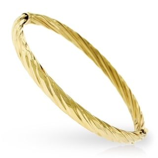14k Yellow Gold 8-inch Fancy Spiral Twist High Polish Bangle Bracelet