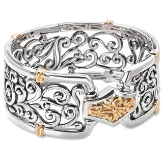 Avanti Palladium Silver and 18K Yellow Gold Filigree Design Wide Hinged Bangle Bracelet