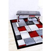 Persian Rugs Modern Trendz Multi with Red Area Rug (5'2 x 7'2)