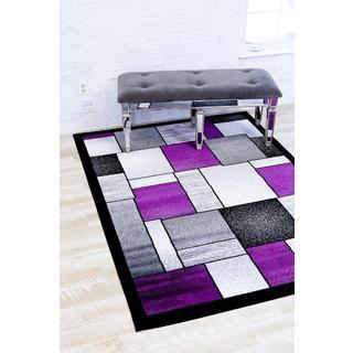 Persian Rugs Modern Trendz Multi with Purple Area Rug (5'2 x 7'2)
