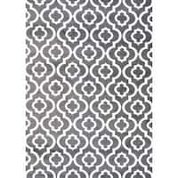 Persian Rugs Morrocan Trellis Charcoal Grey Area Rug - 5'2 x 7'2