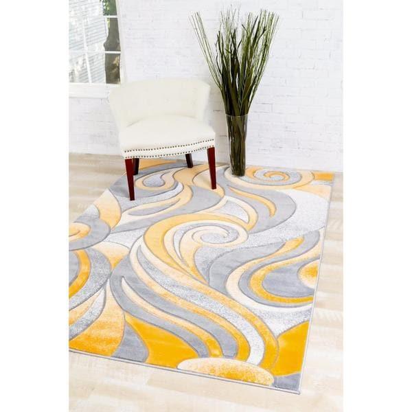 Persian Rugs Mango/Grey/White Carved Swirls Area Rug   5u0026#x27;