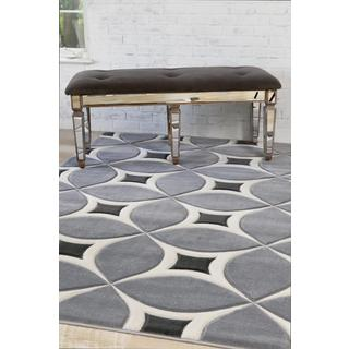 Persian Rugs Carved Modern Abstract Grey Colored Area Rug (5'2 x 7'2)