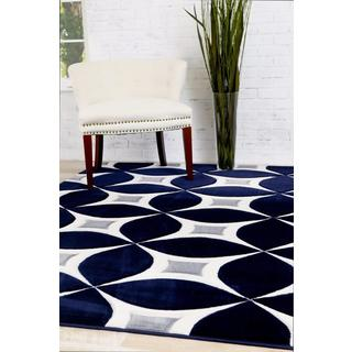 Persian Rugs Carved Modern Abstract Navy Polypropylene Area Rug (5'2 x 7'2)