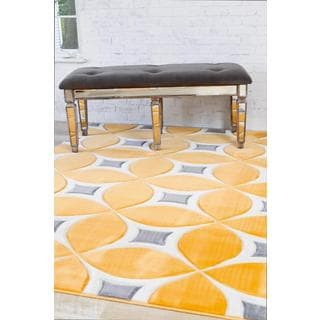 Persian Rugs Carved Modern Abstract Mango Colored Area Rug (7'10 x 10'6)