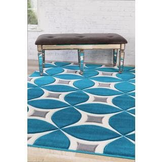 Persian Rugs Carved Modern Abstract Turquoise Area Rug (7'10 x 10'6)