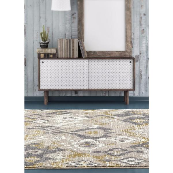 """Beverly Collection Beige Polypropylene Persian Abstract Area Rug - 7'10"""" x 10'6"""""""