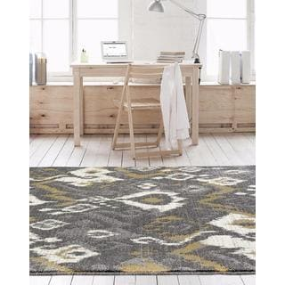 Persian Rugs Beverly Collection Abstract Grey Area Rug (5'2 x 7'2)