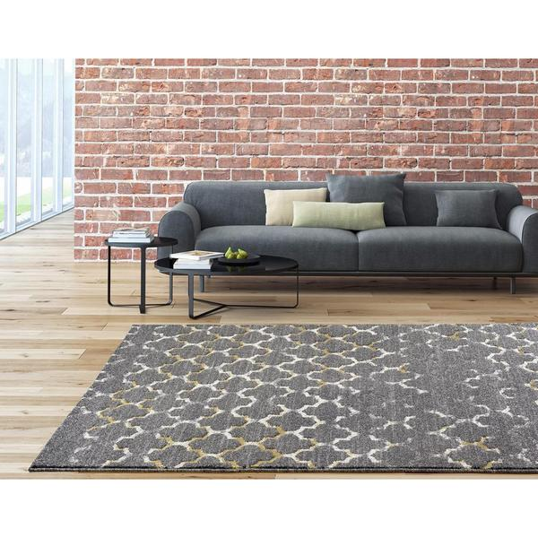 "Persian Rugs Beverly Collection Morrocan Trellis Grey Area Rug - 7'10"" x 10'6"""