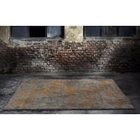 Persian Rugs Beverly Collection Rustic Grey and Orange Design Area Rug - 5'2 x 7'2