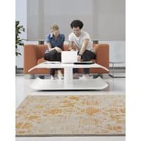 Persian Rugs Beverly Collection Rustic Orange Design Beige Area Rug - 5'2 x 7'2