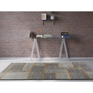 Persian Rugs Beverly Collection Grey with Orange Lines Area Rug (7'10 x 10'6)