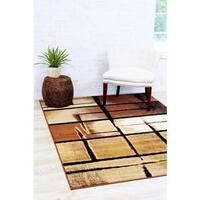 Persian Rugs Modern Trendz Abstract Beige Polypropylene Area Rug - 5'2 x 7'2