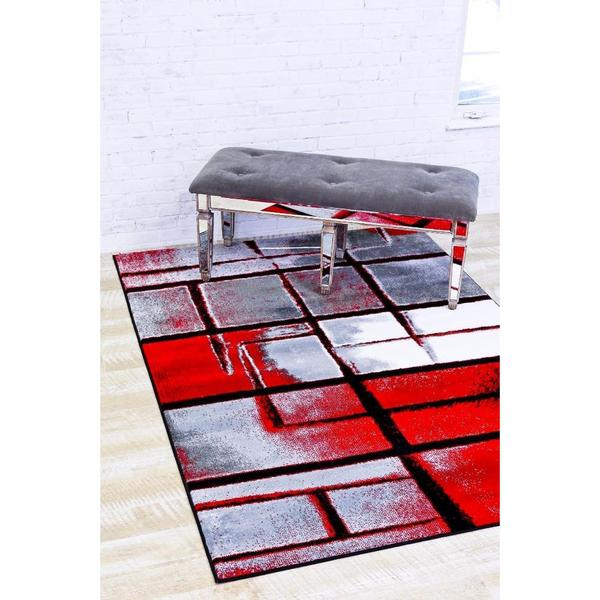 "Modern Trendz Persian Red Polypropylene Abstract Area Rug - 7'10"" x 10'6"""