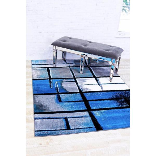 "Persian Rugs Modern Trendz Abstract Turquoise Area Rug - 7'10"" x 10'6"""