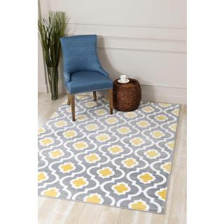 Persian Rugs Morrocan Trellis Grey and Yellow Area Rug (5'2 x 7'2)