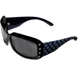 Collegiate North Carolina Tar Heels Black Plastic and Rhinestone Designer Women's Sunglasses