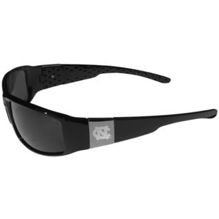 Collegiate North Carolina Tar Heels Black and Chrome Wrap Sunglasses