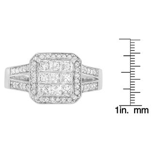 14k White Gold 1ct TDW Round and Princess Diamond Ring