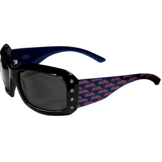 Collegiate Mississippi Rebels Black Plastic and Rhinestone Designer Women's Sunglasses
