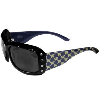 Collegiate Washington Huskies Black Plastic and Rhinestone Designer Women's Sunglasses