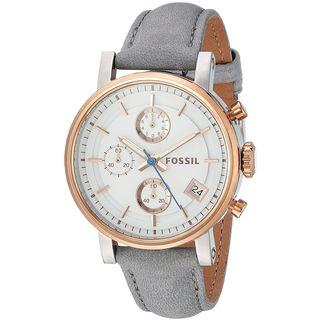 Fossil Women's ES4127 'Original Boyfriend Sport' Chronograph Grey Leather Watch