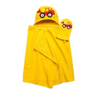 Tub Time for Tots Tractor 2-Piece Kids Wrap and Bath Mitt Set