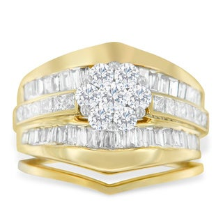 14k Yellow Gold 2 1/2ct TDW Round, Princess and Baguette Diamond Ring