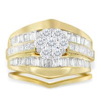 14k Yellow Gold 2 1/4ct TDW Round, Princess and Baguette Diamond Engagement Ring with Wedding Band Ring (H-I, SI1-SI2)