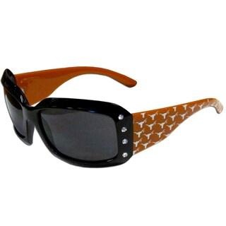 Collegiate Texas Longhorns Black Plastic and Rhinestone Designer Women's Sunglasses