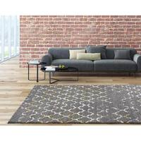 Persian Rugs Beverly Collection Morrocan Trellis Grey Polypropylene Area Rug (5'2x7'2)