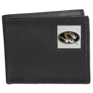 Collegiate Missouri Tigers Black Leather Bi-fold Wallet in Gift Box
