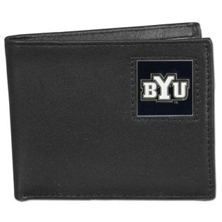 Collegiate BYU Cougars Black Leather Bi-fold Wallet in Gift Box