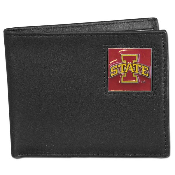 Collegiate Iowa State Cyclones Black Leather Bi-fold Wallet in Gift Box