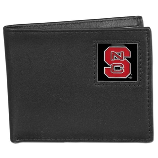 Collegiate North Carolina State Wolfpack Black Leather Bi-fold Wallet in Gift Box