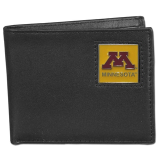 Collegiate Minnesota Golden Gophers Black Leather Bi-fold Wallet in Gift Box