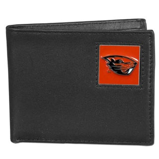 Collegiate 'Oregon St. Beavers' Black Leather Bi-fold Wallet in Gift Box