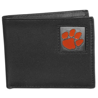 Collegiate Clemson Tigers Black Leather Bi-fold Wallet in Gift Box