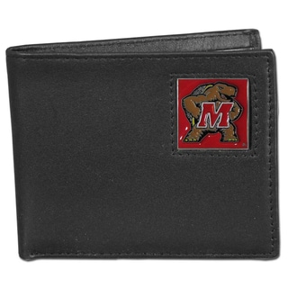 Collegiate Maryland Terrapins Black Leather Bi-fold Wallet in Gift Box
