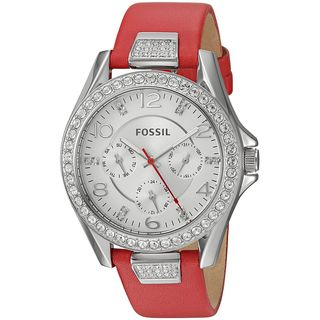 Fossil Women's ES4111 'Riley' Multi-Function Crystal Red Leather Watch