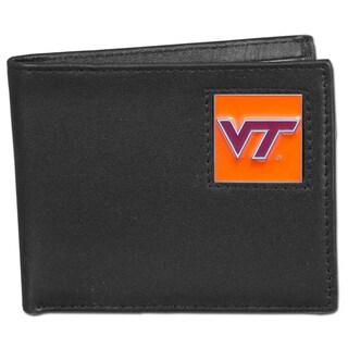 Collegiate Virginia Tech Hokies Leather Bi-fold Wallet in Gift Box