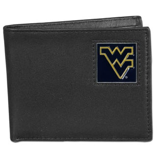 Collegiate West Virginia Mountaineers Leather Bi-fold Wallet in Gift Box