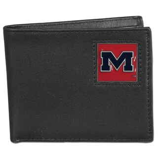 Collegiate Mississippi Rebels Black Leather Bi-fold Wallet in Gift Box